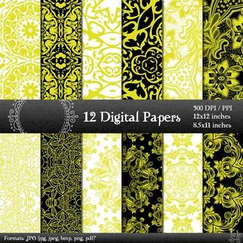 Digital Paper Page Piecing Digital  12 X 12 + 8.5 X 11 Ornate Sheet Album Corner