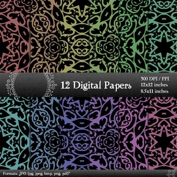 Digital Paper Page Supplie Set Background Scrapbooking Book Pack Corner Cover A4