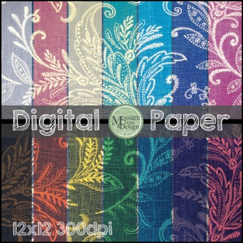 Digital Paper Paisley Pattern Background Texture {Messare Clips and Design}