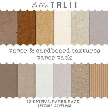Digital Paper: Paper and Cardboard Textures