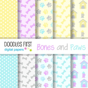 Digital Paper - Pastel Bones and Paws great for Classroom art projects