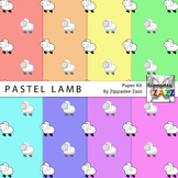 Pastel Lamb Spring Easter Digital Paper or Backgrounds