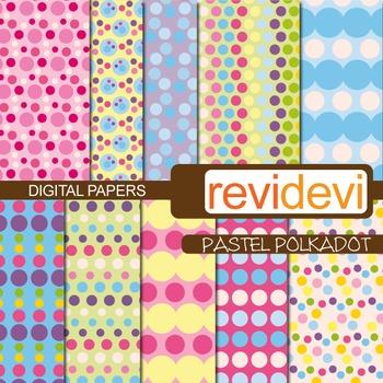 Digital Paper Pastel Polkadot