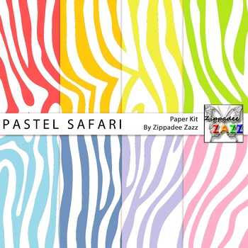 Pastel Safari Zebra Stripes Digital Paper or Backgrounds