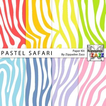Pastel Safari Zebra Stripes Digital Paper or Backgrounds