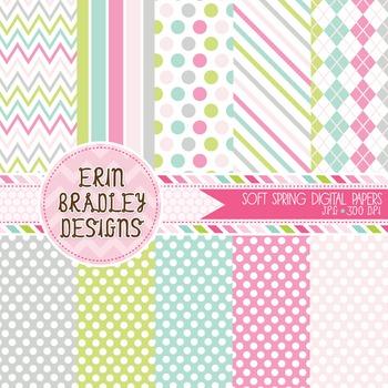 Digital Paper - Pastel Spring Background Patterns
