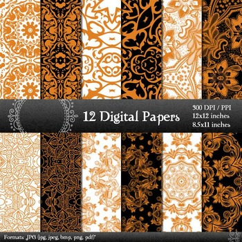 Digital Paper Pattern 12x12 + 8.5x11 Inch Sheet Scrapbook Layout Page Supplie A4