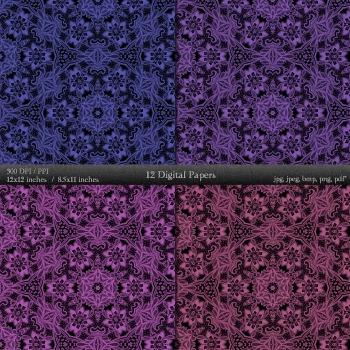 Digital Paper Pattern Instant Download Embellishment 12x12 + 8.5x11 Inch Floral