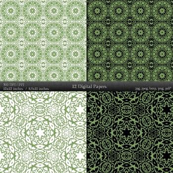 Digital Paper Pattern Journal Scrapbook Scrap Book Textile Premade A4 Page Henna