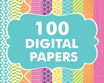 Digital Papers Pack 100 Basic Papers Set 2