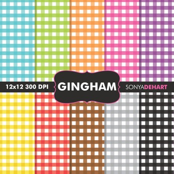 Digital Papers - Rainbow Gingham