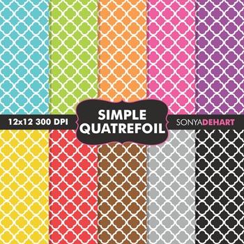 Digital Papers - Simple Quatrefoil