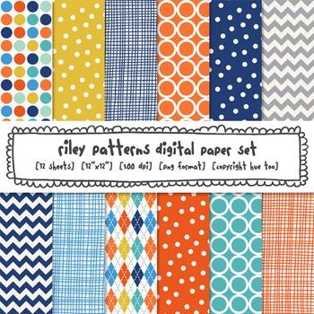 Digital Paper Patterns: Blue, Aqua, Navy, Orange, Yellow, Chevrons, Polka Dots