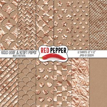 Digital Paper / Patterns - Gold Leaf & Kraft Paper