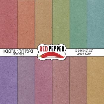 Digital Paper / Patterns - Kolorful Kraft Paper