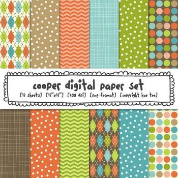 Digital Paper Patterns: Orange, Green, Brown, Blue, Polka Dots, Argyle