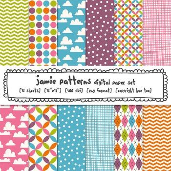 Digital Paper Patterns: Pink, Blue, Purple, Green, Orange
