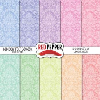 Digital Paper / Patterns - Rainbow Felt Damask