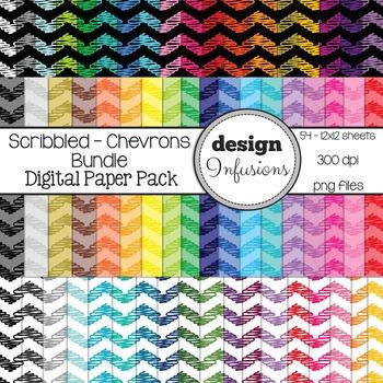 Digital Paper / Patterns: Scribble Chevrons BUNDLE