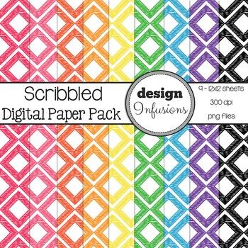 Freebie: Digital Paper / Patterns: Scribbled Diamonds