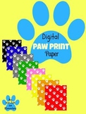 Digital Paper: Paw Print Background for Personal and Commercial Use