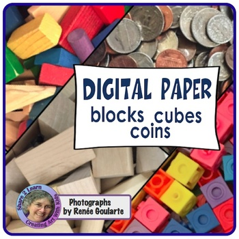 Digital Paper Photographs - Blocks Cubes Coins