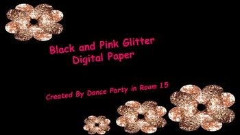 Digital Paper Pink Glitter and Black Designs Personal or Commercial Use