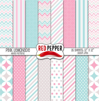 Digital Paper / Patterns - Pink Lemonade