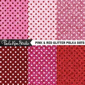 Digital Paper - Pink & Red Glitter Polka Dots