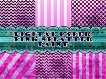 Digital Paper: Pink Splatter Paint