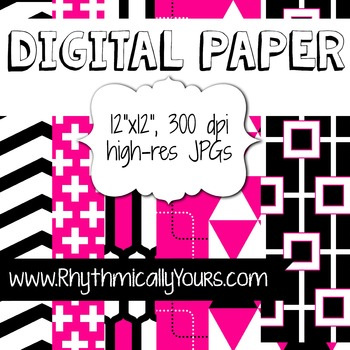 Digital Paper - Pink and Black