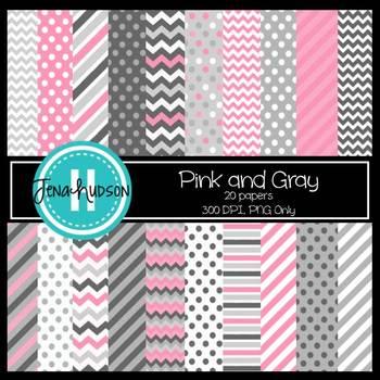 Digital Paper ~ Pink and Gray (Chevrons, Stripes, Polka Dots)