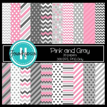 Digital Paper ~ Pink and Gray (Chevrons, Stripes, Polka Dots)