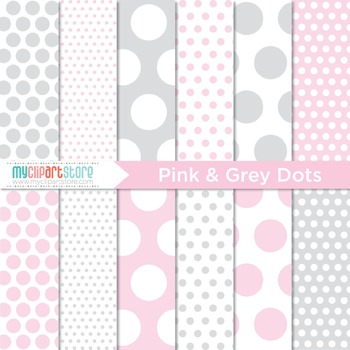 Digital Paper - Pink and Grey Polka Dots