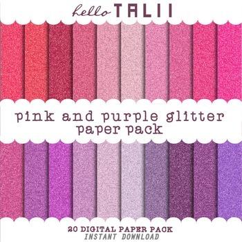 Digital Paper: Pink and Purple Glitter