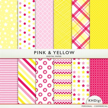 Digital Paper - Pink and Yellow