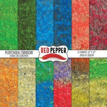 Digital Paper PlayChalk Rainbow