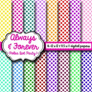 Digital Paper Polka Dot Party Pack 1