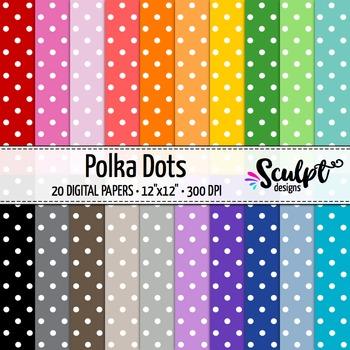 Digital Paper ~ Polka Dots ~ Twenty Colors