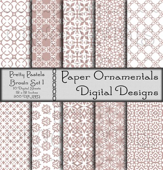 Digital Paper: Pretty Pastels Brown Set 1