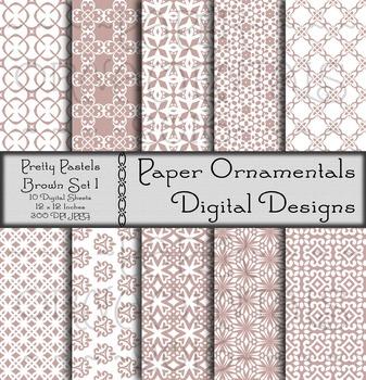 Digital Paper: Pretty Pastels Brown Set 1
