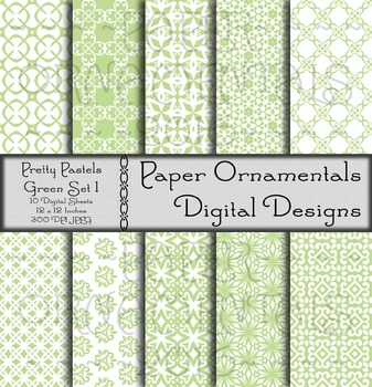 Digital Paper: Pretty Pastels Green Set 1