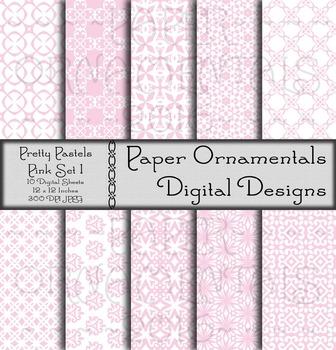 Digital Paper: Pretty Pastels Pink Set 1
