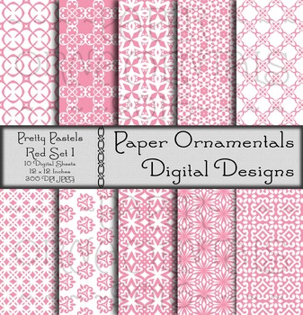 Digital Paper: Pretty Pastels Red Set 1