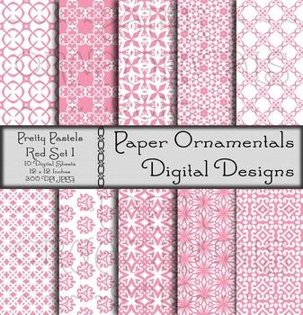 Digital Paper: Pretty Pastels Red Set 1