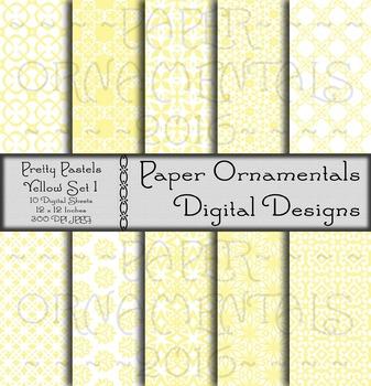 Digital Paper: Pretty Pastels Yellow Set 1