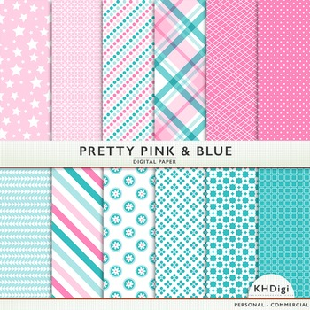 Digital Paper - Pretty Pink and Blue