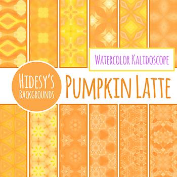 Digital Paper - Pumpkin Latte Pattern / Background Clip Art for Commercial Use