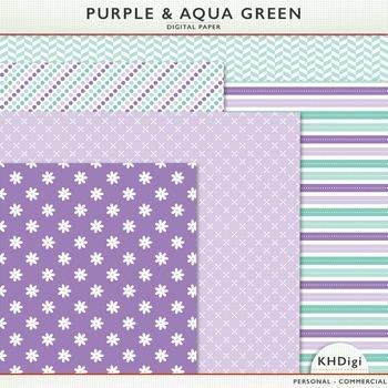 Digital Paper - Purple & Aqua Green Patterns