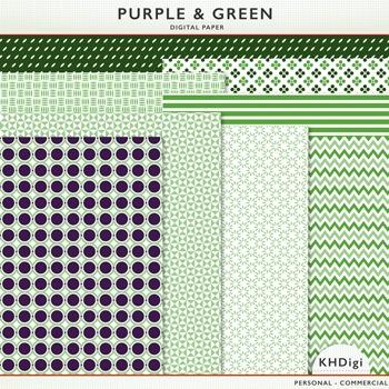 Digital Paper - Purple & Green